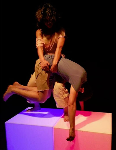 SpareWorks dancers Fabiola Torralba and Charles Perez performing Amber Ortega-Perez's Space_Light_Modulate at the Austin Dance Festival. Photo courtesy of SpareWorks.
