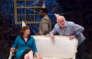 Elizabeth Ann Townsend, Shawn Hamilton, and James  Belcher in Stupid F##king Bird at Stages Repertory  Theatre. Photo by Bruce Bennett.