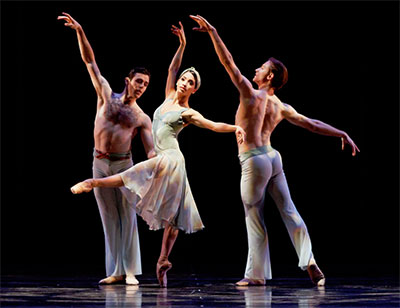 Karina Gonzalez, Connor Walsh and Ian Casady in Stanton Welch's Tapestry. Photo by Amitava Sarkar.