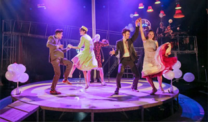 The Company in Kneehigh's Tristan & Yseult at the Alley Theatre @ UH.  Photo by Richard Termine.