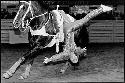 Laura Wilson, Trick Rider, Fort Worth Stock Show and Rodeo, Fort Worth, Texas, February 1, 2001. Gelatin silver print © Laura Wilson.