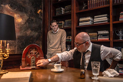 John-Michael Marrs and Michael Corolla in Freud's Last Session by Mark St. Germain, running at Amphibian Productions Oct. 29-Nov. 22 . Photo by Daylon Walton.