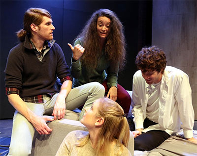 Garret Storms, Kelsey Milbourn, Alexandra Lawrence and Matthew Grondin in Bad Jews. Photo by Buddy Myers.