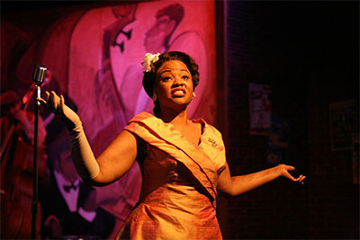 Denise Lee as Billie Holiday in Lady Day at Emerson's Bar and Grill, opening Jubilee Theatre's 35th Anniversary Season, Oct. 2 – Nov. 1. Photo courtesy of Jubilee Theatre. Photo by George Wada.