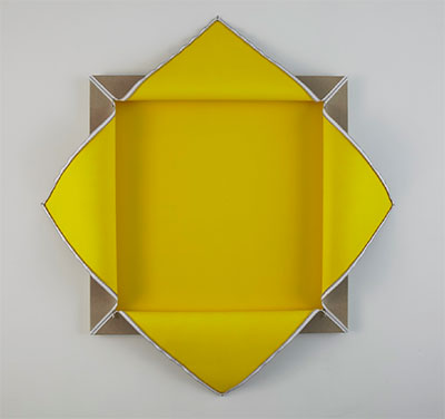 Donald Moffett, Lot 102807X (Yellow), 2007. Acrylic polyvinyl acetate on linen and wall, with rayon and steel zipper 72 x 72 inches. Purchase through the generosity of Houston Endowment,Inc. in honor of Melissa Jones, with support from Jeanne and Michael Klein and Lora Reynolds and Quincy Lee, 2014 © Donald Moffett. Photo: Rick Hall