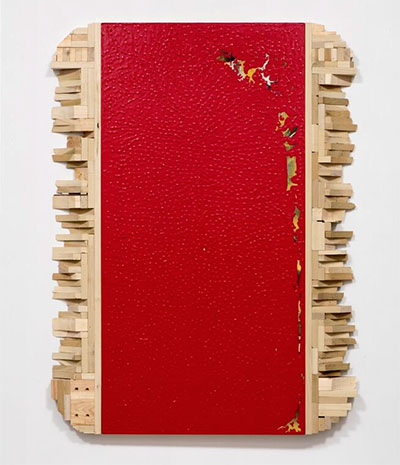 SLATE: Remnant No. 4 (dipped old painting and excess wood), 2015, Valspar paint, oil and wood, 48 x 36 inches