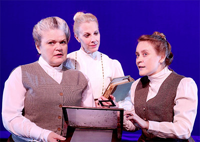 The Harvard Computers, Williamina Fleming (Claire Hart-Palumbo), Henrietta Swan Leavitt (Shannon Emerick), and Annie Jump Cannon (Elizabeth Marshall Black) in Main Street Theater's production of Silent Sky, Nov. 7-29 at MST's Rice Village location. Photo by Pin Lim/Forest Photography.