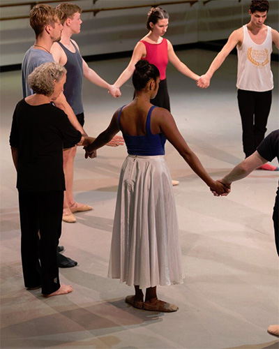Deepa Liegel, Sarah Stackhouse of the José Limón Dance Foundation , Mike Stone, Ian Forcher, Mallory Ketch and Salvatore Bonilla rehearsing Limon's There is a Time, at SMU Meadows School of the Arts. Photo by Paul Phillips.