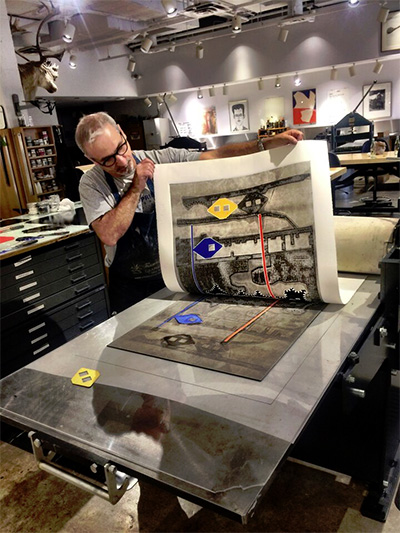 Carmon Colangelo printing monotypes at Rice University in preparation for his exhibition entitled Contingency Plan at the Emergency Room Gallery, through Nov. 22.
