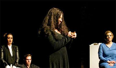 Scene from A musical journey through the Seven Chakras the Saturday night performance at the Crowley Theater featuring (l to r) Samantha Malk, mezzo-soprano; Jeremy Hirsch, bass-baritone; Francesca Mondanaro, soprano; and Amy Shoremount-Obra, soprano.