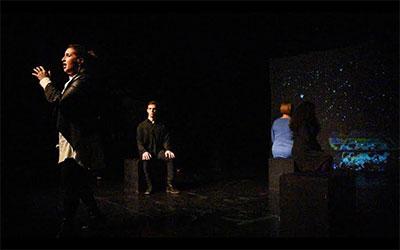 Scene from A musical journey through the Seven Chakras the Saturday night performance at the Crowley Theater featuring (l to r) Samantha Malk, mezzo-soprano; Jeremy Hirsch, bass-baritone; Amy Shoremount-Obra, soprano; and Francesca Mondanaro, soprano.