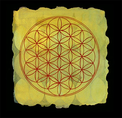 Arielle Masson, Flower of Life. Gouache on 100% cotton watercolor paper, 15 x 15 inches,