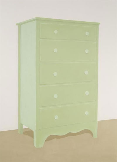 "Francesca Fuchs, Green Dresser, 2006, Acrylic on canvas, 79 x 58"", Courtesy of private collection"