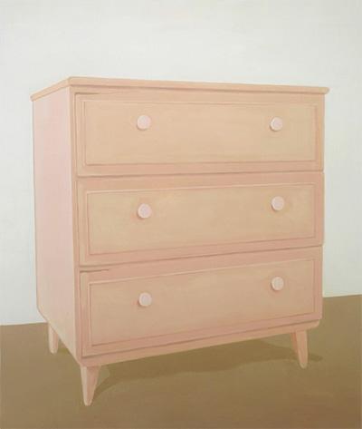 Francesca Fuchs, Pink Dresser, 2007. Acrylic on canvas, 65 x 55 inches.