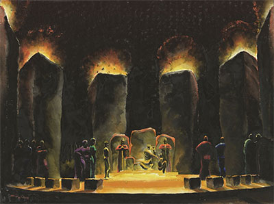 Norman Bel Geddes, A rendering of King Lear's throne, circa 1917, watercolor on paper, 14 7/8 x 20 1/16 inches. Image courtesy of the Edith Lutyens and Norman Bel Geddes Foundation.