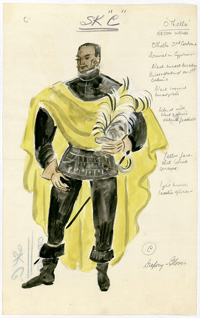 A costume design (after Motley) for Orson Welles in the role of Othello, circa 1951. Image courtesy of Harry Ransom Center.