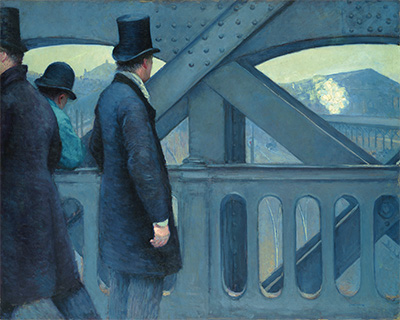 Gustave Caillebotte, On the Pont de l'Europe, 1876-77. Oil on canvas. 41 ⅝ x 51 ½ in. Kimbell Art Museum, Fort Worth.