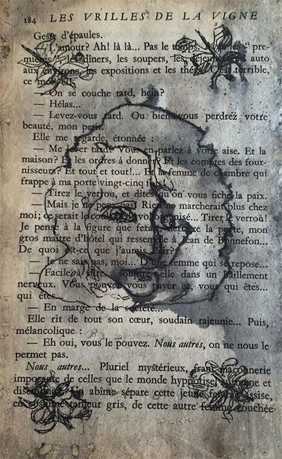 Colette Copeland, La Vrilles, etching, chine colle, 2015.