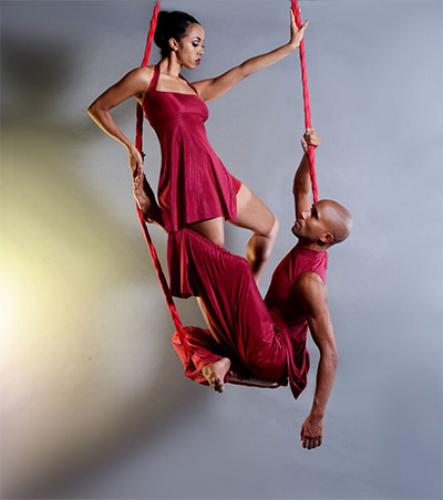 Kayah Franklin and Sean J. Smith in triple aerial dance by Jamal Story. Photo by Brian Guilliaux.