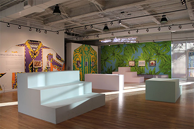 What Shall We Do Next? exhibition installation, on view at DiverseWorks through March 19, 2016. Wall murals and furniture by Versace Versace Versace. Courtesy of DiverseWorks. Photo: Rachel Cook.