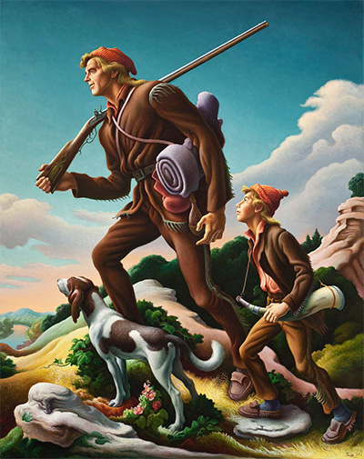 Thomas Hart Benton (1889­–1975), The Kentuckian, 1954 Oil on canvas © T.H. Benton and R.P. Benton Testamentary Trusts/UMB Bank Trustee/Licensed by VAGA, New York, NY Los Angeles County Museum of Art, Gift of Burt Lancaster, Photo courtesy of LACMA.