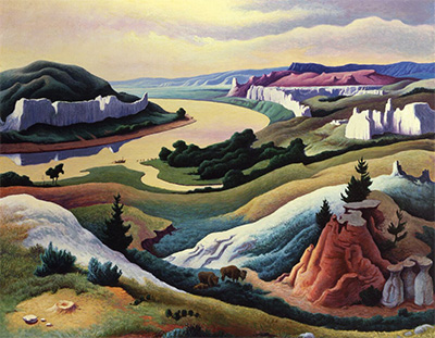 Thomas Hart Benton (1889–1975), Lewis and Clark at Eagle Creek, 1967 Polymer and tempera on Masonite panel © T.H. Benton and R.P. Benton Testamentary Trusts/UMB Bank Trustee/Licensed by VAGA, New York, NY Courtesy of the Eiteljorg Museum of American Indians and Western Art, Indianapolis, Indiana.