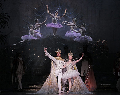 Houston Ballet Principals Connor Walsh and Sara Webb in Ben Stevenson's The Sleeping Beauty. Photo by Amitava Sarkar.