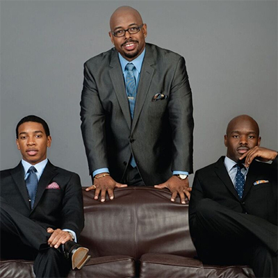5-time Grammy-winning Christian McBride Trio, left to right, pianist Christian Sands, bassist Christian McBride, and drummer Ulysses Owens, Jr. Christian McBride will commission a new work for vocal jazz ensemble to be premiered by Houston Chamber Choir on May 22nd 2016.