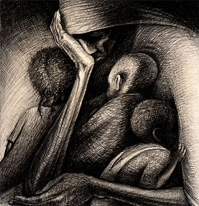 John Biggers, The Cradle, 1950, Conté crayon on paper board, the Museum of Fine Arts, Houston, 25th Annual Houston Artists Exhibition, Museum purchase prize, 1950. © John T. Biggers Estate/Licensed by VAGA, New York, NY, Estate Represented by Michael Rosenfeld.