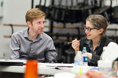 Composer David Hanlon and Librettist Stephanie Fleischmann in a workshop for HGOco's The Root of the Wind is Water. Photo by Lynn Lane.