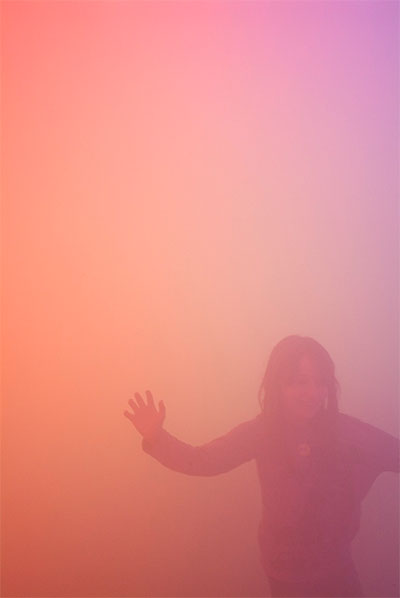 Ann Veronica Janssens, Blue, Red, and Yellow, 2001 (installation view), Steel, wood, polycarbonate, red, blue and yellow films, fog machine, approx. 137 ¾ x 354 3/8 x 177 1/8 in. (350 x 900 x 450 cm). Photo: Philippe De Gobert, courtesy WIELS, Brussels. © Ann Veronica Janssens
