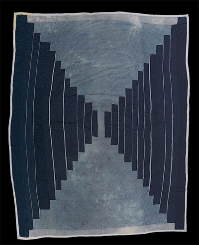 Loretta Pettway, Log Cabin (Bricklayer), c. 1970, cotton denim, the Museum of Fine Arts, Houston, Museum purchase.