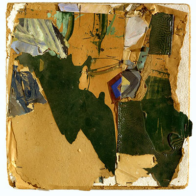 John Chamberlain, Untitled, 1961. Paper, metal, paint, ink, and staples on fiberboard, 12 1/4 x 11 3/4 x 1 in. (31.1 x 29.8 x 2.5 cm). The Menil Collection, Houston, Gift of Walter Hopps. © John Chamberlain / Artists Rights Society (ARS), New York.