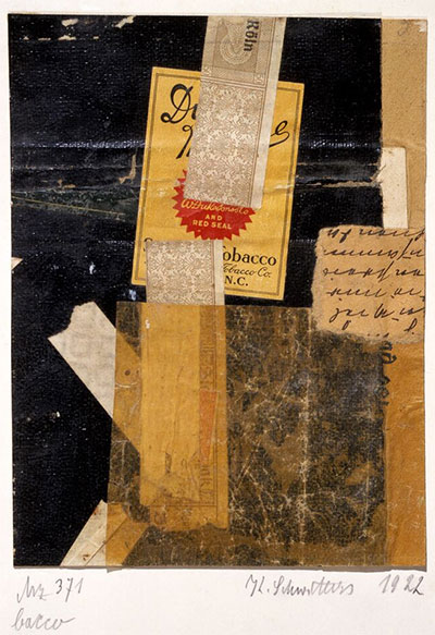 Kurt Schwitters, Mz 371 bacco, 1922. Bookcloth, printed paper, ink, and paper on card, image: 6 1/4 × 4 7/8 in. (15.9 × 12.4 cm), sheet: 11 x 7 1/2 in. (27.9 x 19.1 cm). The Menil Collection, Houston. © Artists Rights Society (ARS), New York / VG Bild-Kunst, Bonn.