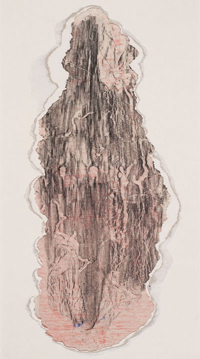 Sari Dienes, Pink Hue, ca. 1950. Ink and torn matboard on paper, 17 × 9 in. (43.2 × 22.9 cm). The Menil Collection, Houston. © Sari Dienes Foundation / VAGA, New York, NY.