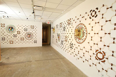 """Installation view: Jennifer Angus, Silver Wings and Golden Tales, Insects, Resin, Cloth, 12' x 10' and 13'10"""" x 10' (two walls), 2016."""