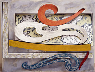 Frank Stella, Eskimo Curlew, 1976. Litho crayon, etching, lacquer, ink, glass, acrylic paint, and oil stick on aluminum. 98 3/4 x 127 x 18 in. (250.8 x 322.6 x 45.7 cm). Portland Art Museum, Portland, Oregon; museum purchase: funds provided by Mr. and Mrs. Howard Vollum 79.36. © 2015 Frank Stella/Artists Rights Society (ARS), New York.