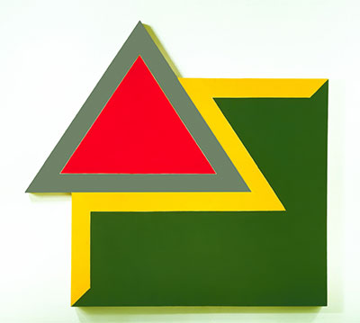 Frank Stella, Chocorua IV, 1966. Fluorescent alkyd and epoxy paint on canvas. 120 x 128 x 4 in. (304.8 x 325.1 x 10.2 cm). Hood Museum of Art, Dartmouth College, Hanover, NH; purchased through the Miriam and Sidney Stoneman Acquisition Fund, a gift from Judson and Carol Bemis, Class of 1976, and gifts from the Lathrop Fellows, in honor of Brian P. Kennedy, Director of the Hood Museum of Art, 2005–2010. © 2015 Frank Stella/Artists Rights Society (ARS), New York.