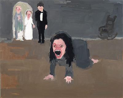 """Jennie Ottinger, Spoiler: He's Already Married (Scene from Jane Eyre), 2016, oil on panel, 16x20""""."""