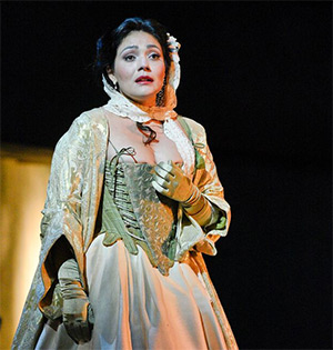 Ailyn Pérez in the title role of The Dallas Opera's Manon. She returns next fall to sing the role of Tatyana in Tchaikovsky's Eugene Onegin. Photo by Karen Almond, Dallas Opera.