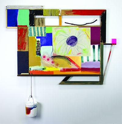 "Cheap Suitcase Place 69"" x 66"", Wood, acrylic, pastel, paper, canvas and plexiglass 2015."