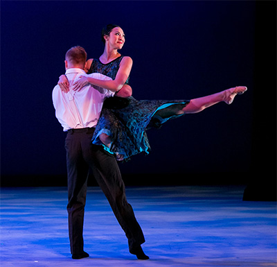 Harry Feril and Kimi Nikaidoh in Bruce Wood's love, b. Photo by Brian Guilliaux.