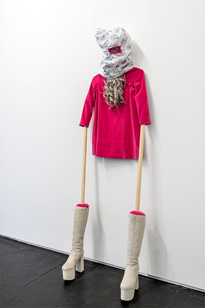 Margaret Meehan, John Merrick, 2015 Vintage dress and gogo boots, fabric, thread, wood, polyfil and wig 76 x 23 inches.