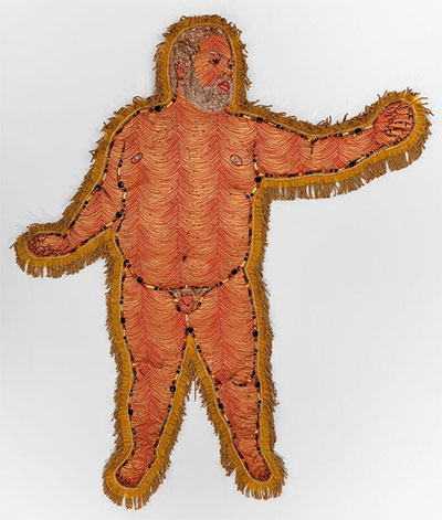 Anthony Sonnenberg, APOLLO (SELF-PORTRAIT PILLOW) found fabric, semi-precious stones, crystal beads, fringe, batting 68 x 56 x 2 inches.
