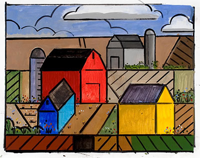 Richard Thompson, Study Painter's Farm [yellow house], a-p, 30 x 40, 2014.