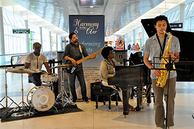 45 South Jazz Quartet performing at HOU(L-R) Sam Knight, Tim Ruiz, Britney Bloom, Cliff Gordon. Photo courtesy of the Houston Airport System.