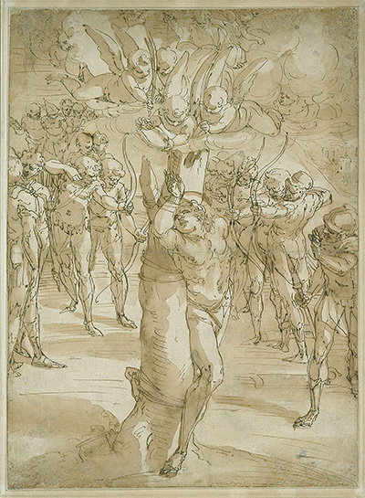 Luca Cambiaso The Martyrdom of Saint Sebastian, c. 1560 Pen and brown ink with brush and brown wash over traces of black chalk on cream antique laid paper 22 3/8 x 16 7/16 in. Blanton Museum of Art, The Suida-Manning Collection, 1999.