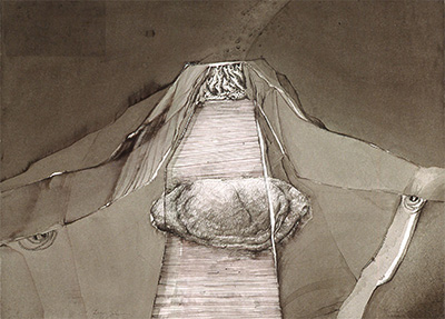 "Lucas Johnson, Freedom of Choice (Drawings from the Underworld), 1993, ink & ink wash/paper, 22 1/4"" x 30 1/2"". Courtesy of Moody Gallery, Houston, Texas."