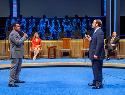 (L-R) Shawn Hamilton as Associate Pastor Joshua, Emily Trask as Elizabeth, the Pastor's Wife, Richard Thieriot as Pastor Paul and Jeffrey Bean as Jay in Alley Theatre's production of The Christians.