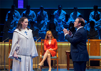 Melissa Pritchett as Jenny, Emily Trask as Elizabeth, the Pastor's Wife and Richard Thieriot as Pastor Paul in Alley Theatre's production of The Christians.